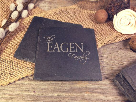 Slate Coasters w/Family Name  Laser Etched by OTBengraving on Etsy