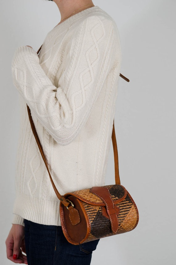 woven leather buckle bag