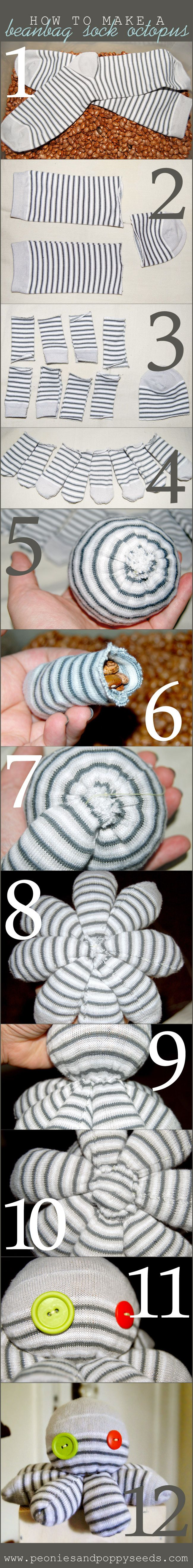 How to make a beanbag sock octopus