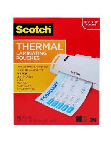 Scotch Thermal Laminating Pouches, 8.9 x 11.4-Inches, 3 mil thick, 100-Pack NEW #Scotch