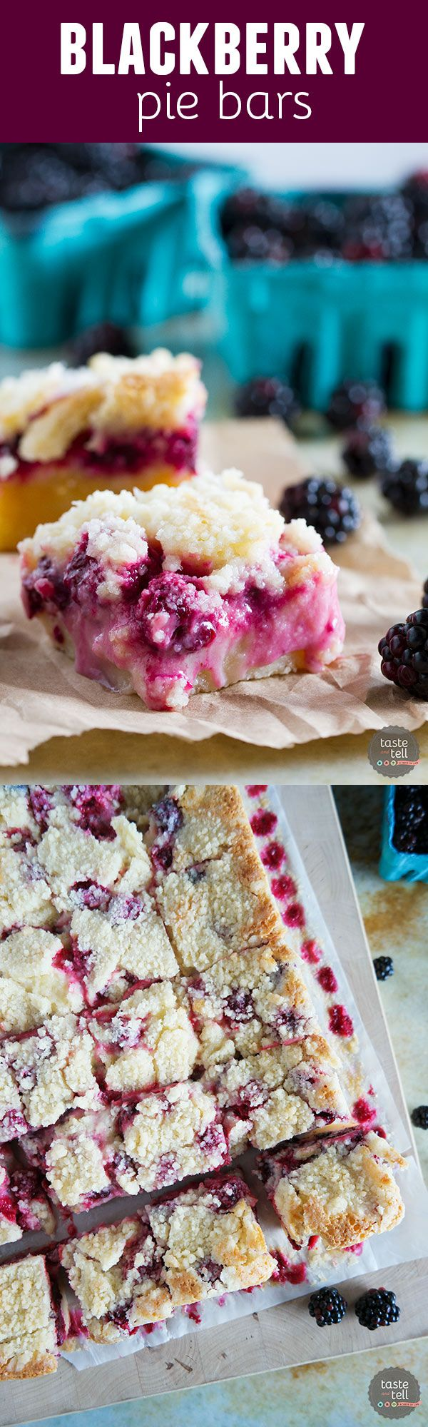A shortbread base is topped with a creamy blackberry layer and then a streusel…