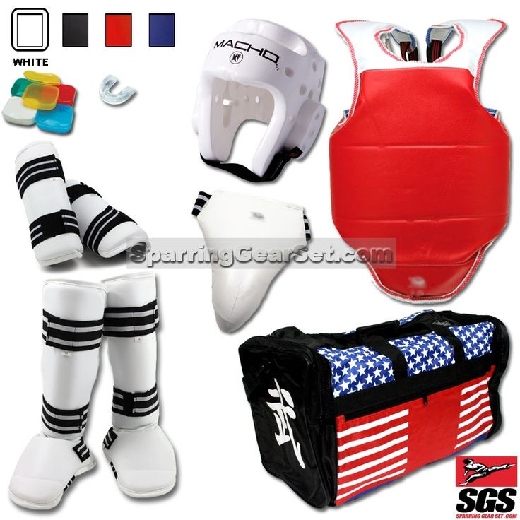 Complete Taekwondo Vinyl Sparring Gear Set w/ Shin Instep Guards