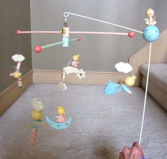 Vintage Retro IRMI Angel Wooden Baby Crib Mobile by QuinlanQ, $24.99