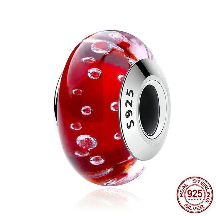 Rosso fuoco in vetro di murano Charm bead 100% argento sterling 925 adatta misure Pandora charm Pandora bead e Braccialetto europeo CZ028 di OceanBijoux su Etsy