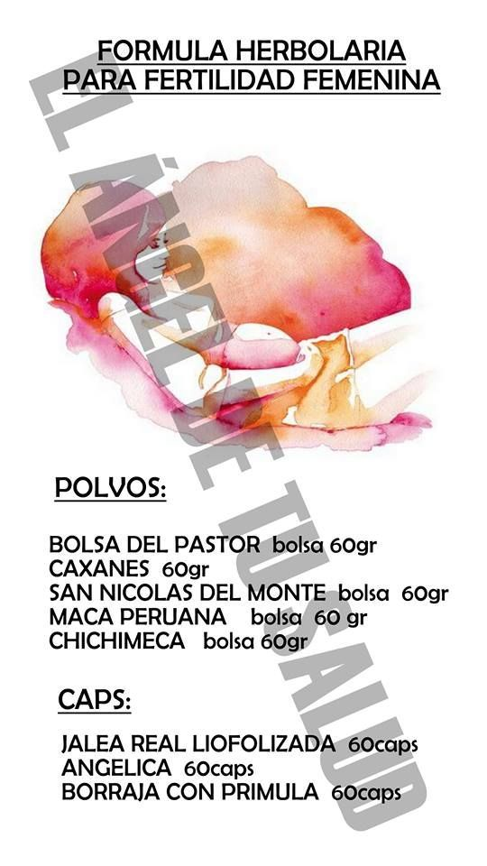 FORMULA HERBOLARIA PARA fertilidad femenina POLVOS: MEZCLAR TODOS LOS POLVOS POR PARTES IGUALES DE LA MEZCLA UNA CUCHARADA SOPERA PARA UN LITRO DE AGUA, HERVIR POR 10 MIN A FUEGO LENTO Y TOMAR COMO AGUA DE TIEMPO CAPS: TOMAR UNA DE CADA UNA ANTES DE LOS ALIMENTOS 3 VECES AL DÍA. TRATAMIENTO 8 SEMANAS