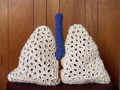 "Made by Christine Domanic who says, ""these lungs are made up of thousands of crocheted circles""."