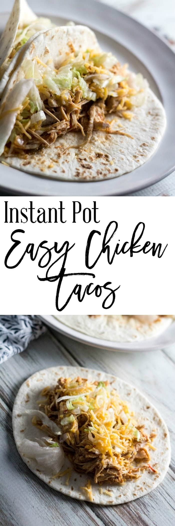 Instant Pot Easy Chicken Tacos - If you love tacos as much as I do, you need to try these Instant Pot easy chicken tacos recipe.  They are easy to make – only take about 20 minutes – and taste like they have been cooking all day long.  These are 11 SmartPoints per serving on Weight Watchers, 2 tacos filled with 1 cup of cooked chicken each. https://dashofherbs.com/instant-pot-easy-chicken-tacos/