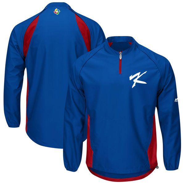 Korea Baseball Majestic 2017 World Baseball Classic Convertible Gamer Quarter-Zip Jacket - Royal/Red - $74.99