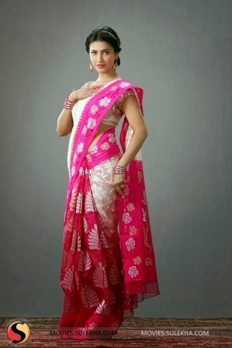 Shruti Hasan in Beautiful pink & white #cotton Saree