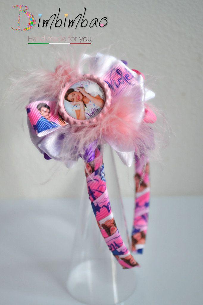Cerchietto accessori bambina corona coroncina frontino Violetta grosgrain ribbon fiocco capelli hair bow, by Bimbimbao hand made, 8,00 € su misshobby.com