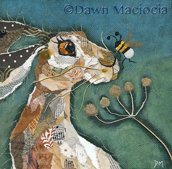 Mounted print of a hare and bee from an original torn painted paper collage. Image size: 6 inches square Mount size: 10 inches square