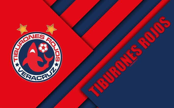 Download wallpapers Veracruz FC, 4k, Mexican Football Club, material design, logo, blue red abstraction, Veracruz, Mexico, Primera Division, Liga MX, Tiburones Rojos de Veracruz