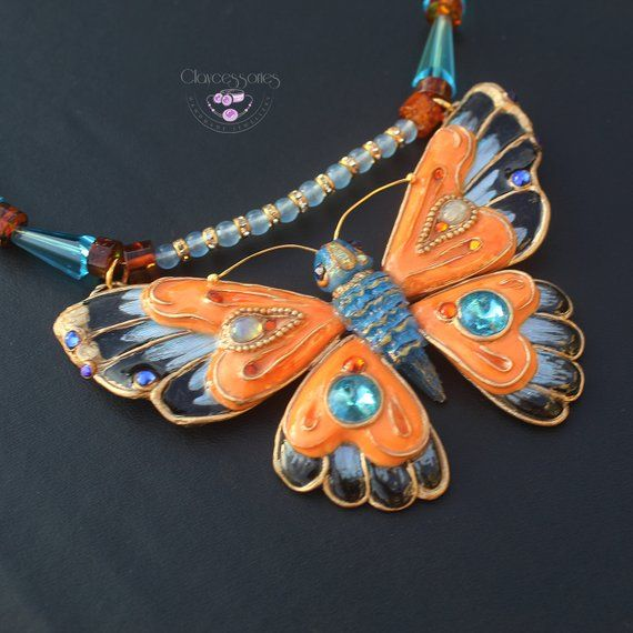 butterfly pendant polymer clay jewelry gift for her insect jewelry butterfly jewelry butterfly necklace insect pendant insect jewelry weddin