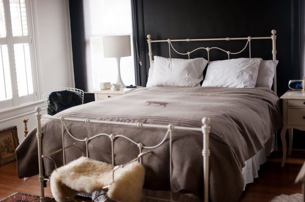 : Bedroom Sloth, Guest Room, Simple Bedrooms, Dark Walls, Bed Frame, Hotel Bedspread, Black Wall, Iron Beds