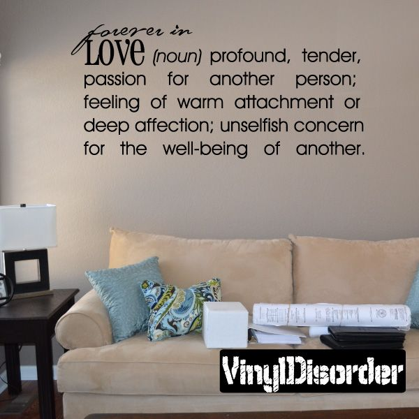 Forever in love noun profound tender passion for another person Definitions Vinyl Wall Decal Mural Quotes Words DFD009