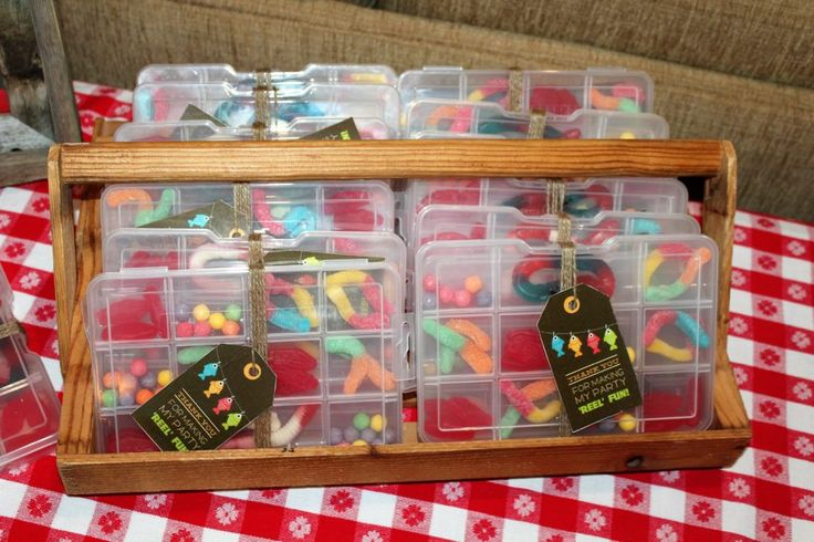 """Tackle box favors for this cute """"gone fishing"""" themed birthday party."""