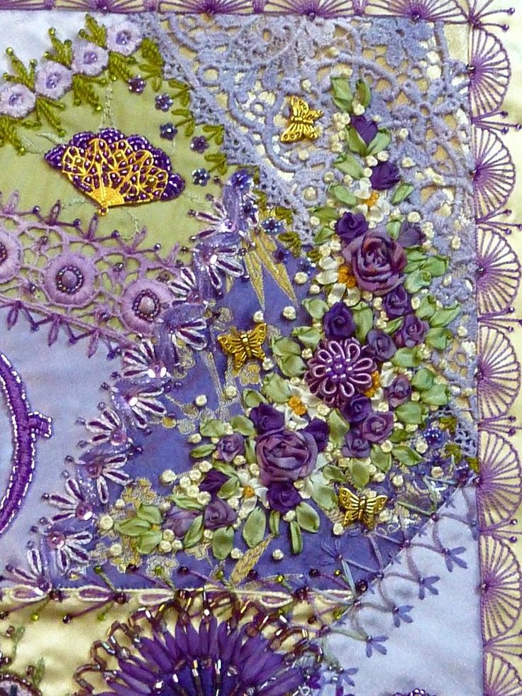 Embroidery & crazy quilting . . . Closeup: Absolutely stunning, Russian handmade crazy quilted silk pillow . . .