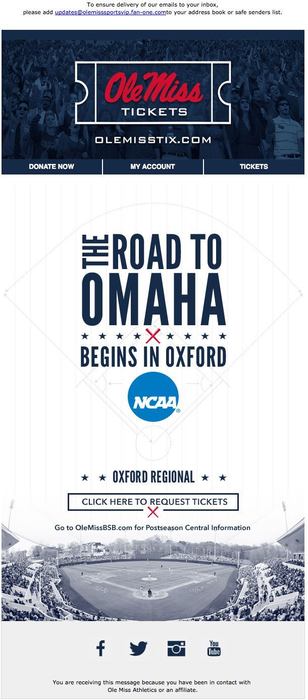 Ole Miss - Ticket request for their baseball regionals