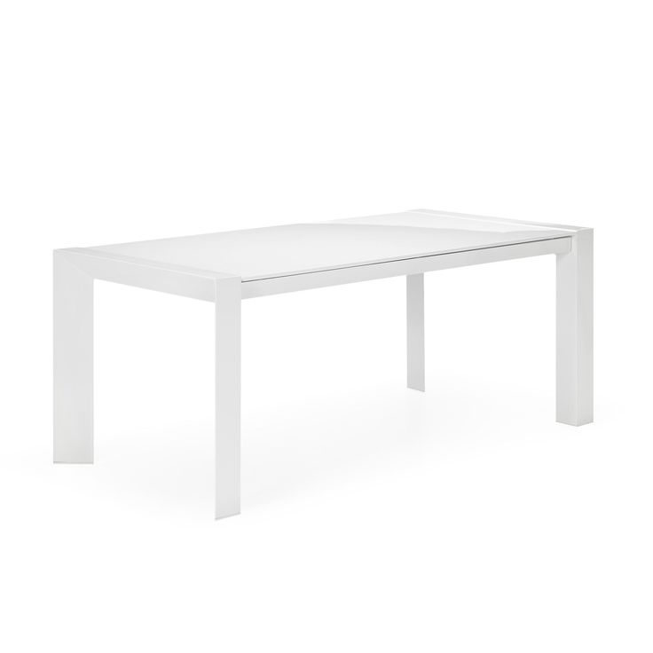Table avec allonges de 8 12 couverts blanc no mie for Table salle a manger blanc