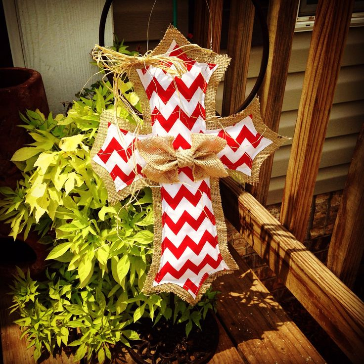 Red & White Chevron Burlap Cross Door Hanger by clrich on Etsy https://www.etsy.com/listing/243015738/red-white-chevron-burlap-cross-door