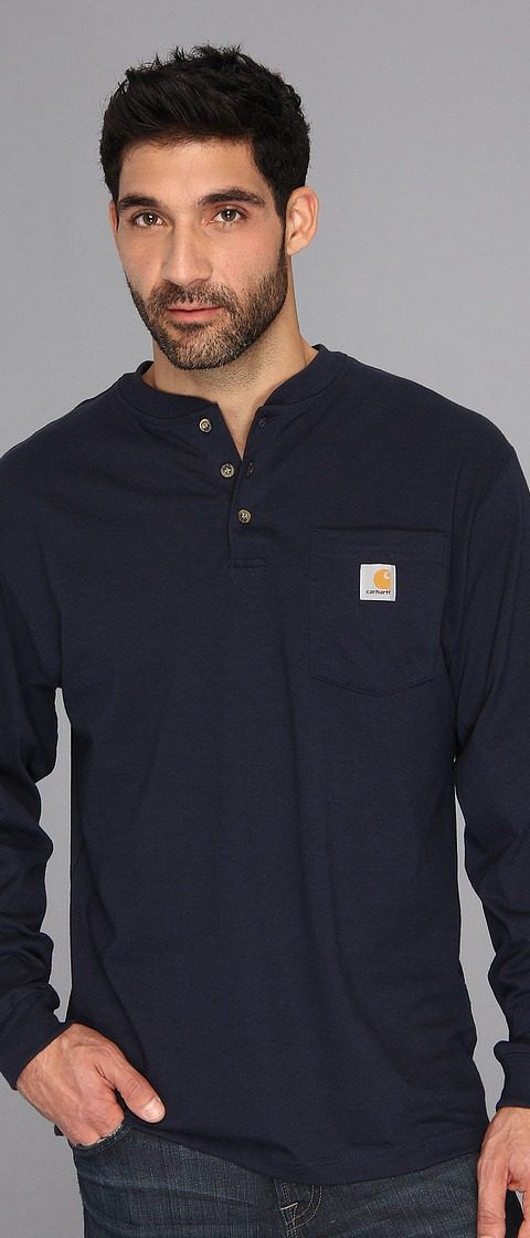 Carhartt Workwear Pocket L/S Henley (Navy) Men's Long Sleeve Pullover - Carhartt, Workwear Pocket L/S Henley, K128-412, Apparel Top Long Sleeve Pullover, Long Sleeve Pullover, Top, Apparel, Clothes Clothing, Gift, - Street Fashion And Style Ideas