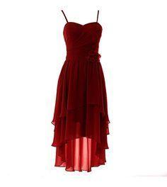 YiYDawn Vokuhila Kleid Cocktailkleid Brautjungfernkleid mit Blume für Damen Größe 38 EU Weinrot
