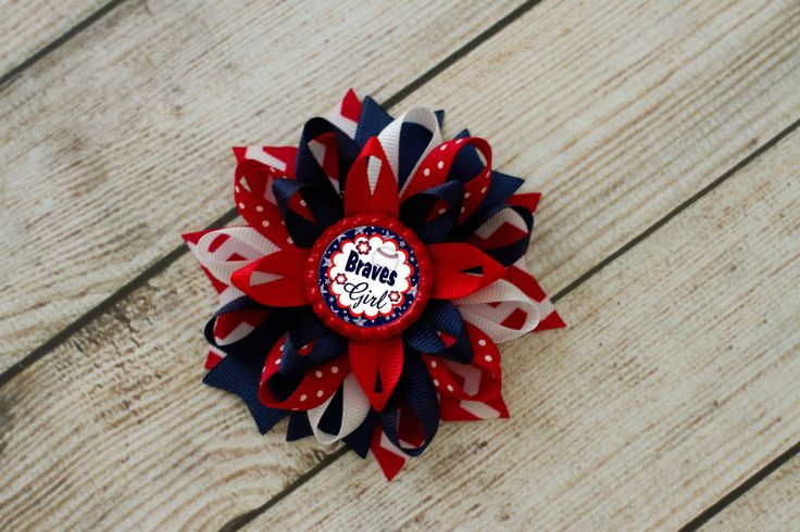 Atlanta Braves Baseball Boutique Hairbow- Atlanta Braves Pigtails, Atlanta Braves Headband, MLB Bow, World Series Bow, Braves Biggest Fan by MaddieHatterBowtique on Etsy
