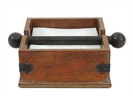 """Farmhouse Napkin Holder-An entertainers dream. We adore the modern mix of metal and wood on this stunning napkin holder.6-1/4"""" Square Wood"""