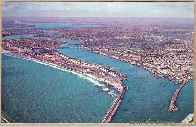 Vintage chrome postcard of an aerial view of the Port of Fremantle in Western Australia, Australia. Photo by by David McCowan.
