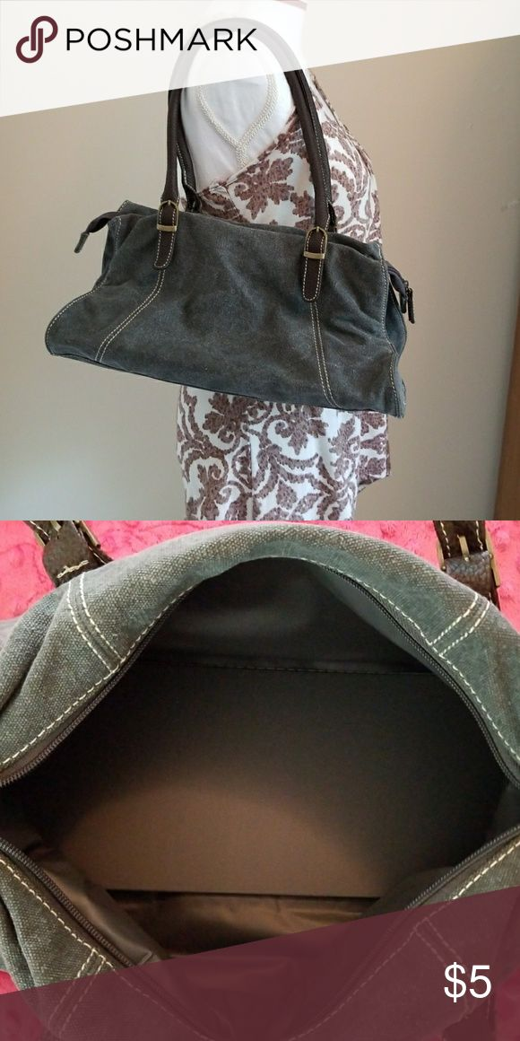 Dark Gray Denim Handbag Dark Gray Denim Handbag. No name brand. 10 inches tall and 14 inches long. Zips up in the center. Any questions please ask. Bags