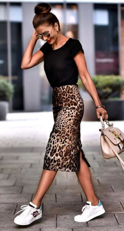 Casual Outfit Inspiration Black Top Plus Bag Plus Printed Pencil Skirt Plus Snea…