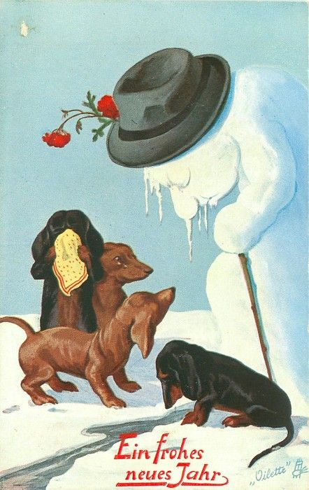 four dachsunds grieve as snowman melts & wilts..rather strange