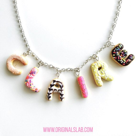 Personalised Donut Custom Name Necklace - Pendant Style with Sprinkles and Icing