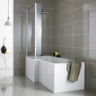 Create an ultra-modern look with this square shower bath