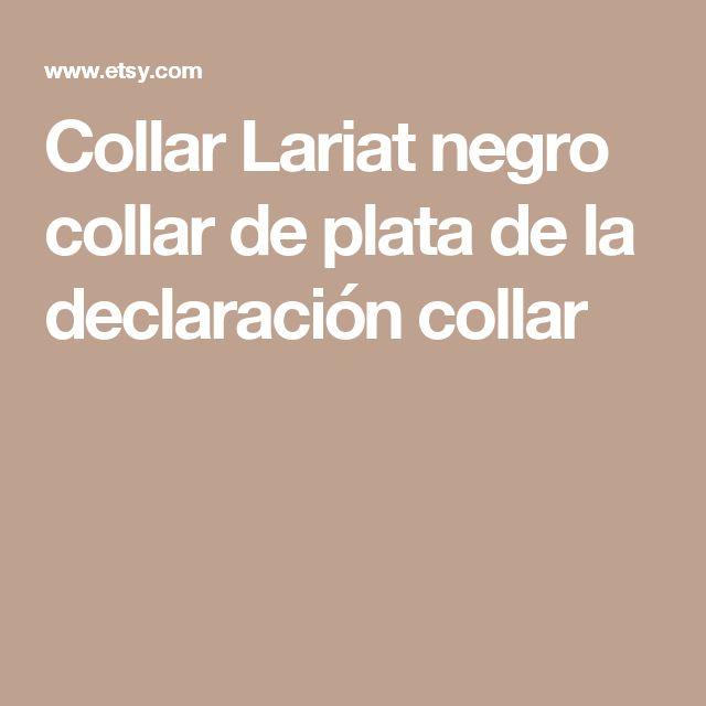 Collar Lariat negro collar de plata de la declaración collar