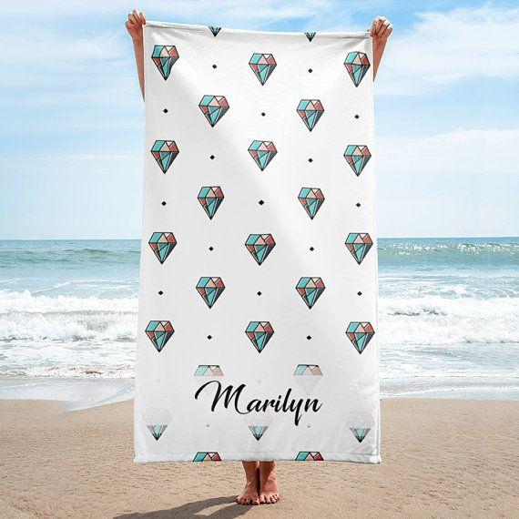 Diamonds Personalized Beach Towel Custom Towel Bridesmaid Gift