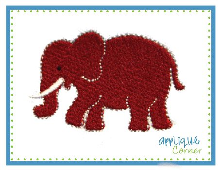 Elephant Filled Embroidery Design