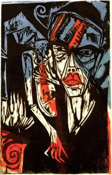 Ernst Ludwig Kirchner - 1915: Adelbert von Chamisso, Peter Schlemihls wundersame Geschichte [The Amazing Story of Peter Schlemihl] Color woodcut