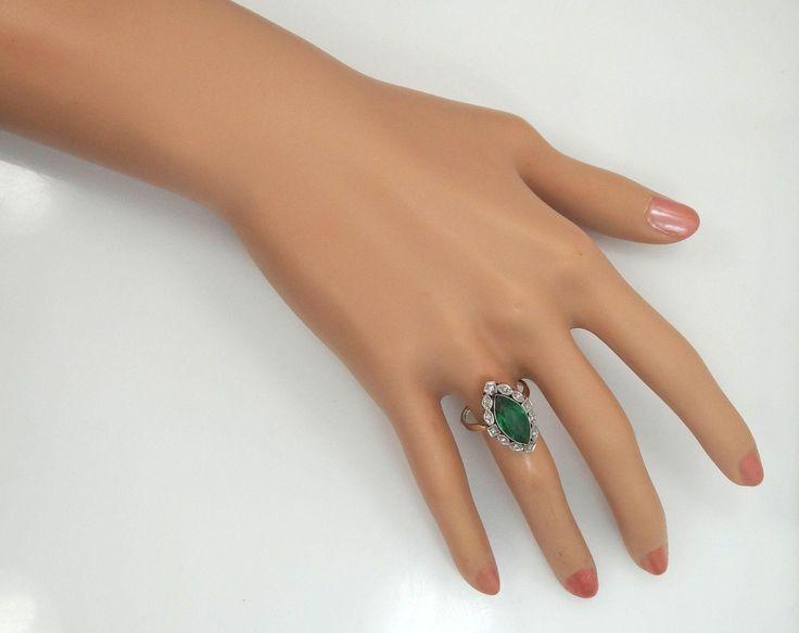 Art Deco 14k Gold and Diamonds 1920's Ring