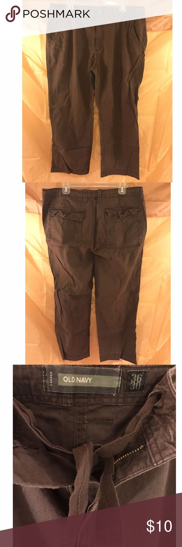 Men's Old Navy Linen Pants Men's Old Navy linen pants for sale. Great pants for the summer! Drawstrings are in addition to the button closure. Old Navy Pants Cargo