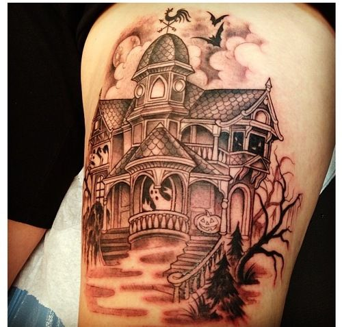365daysofhalloween:  Here is my tattoo of a haunted house! Done by Kim Saigh at Memoir tattoo.