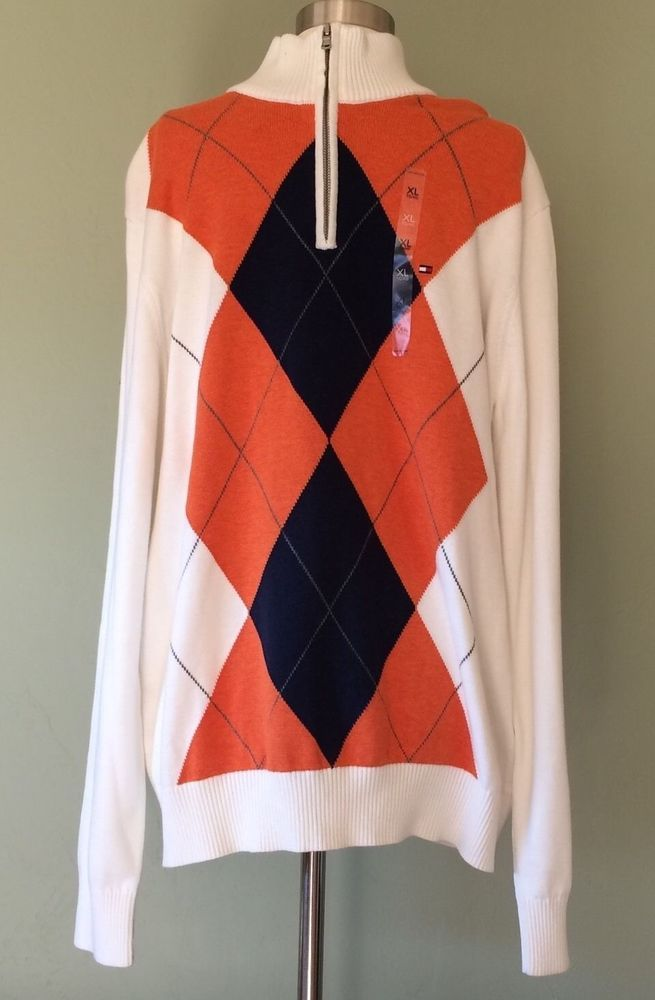 Tommy Hilfiger Quarter Zip Argyle Men's Sweater XL Orange Blue Mock Collar NWT #TommyHilfiger #QuarterZip