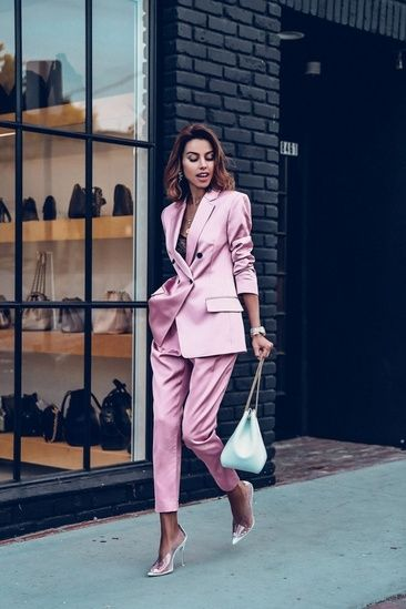 Obsessed with this satin pink suit from ALC! Wore it with a white bucket bag on ... - StyleSense_