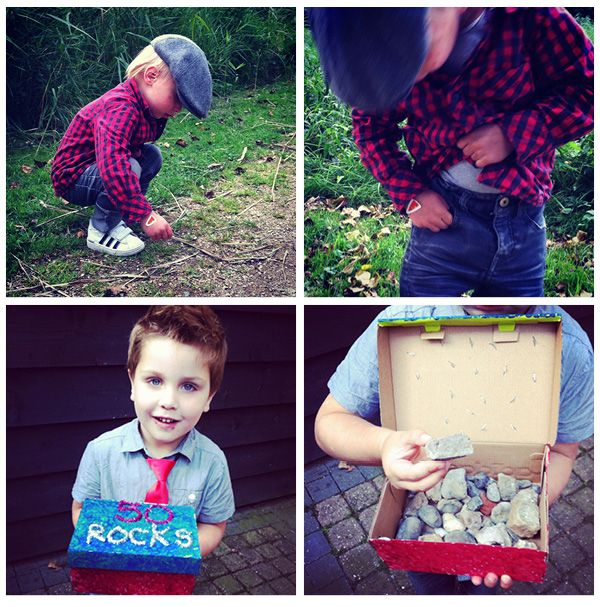 "50 rocks! Turn an old shoebox into a treasure box, collect 50 ""good"" stones and put them in the box. Voila, self-made toddler birthday present for a 50 year old."