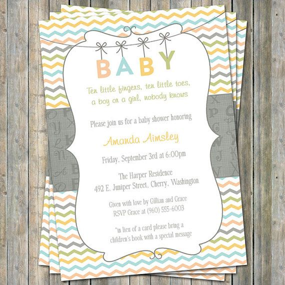 Alphabet BABY shower invite, Gender Neutral digital, printable file