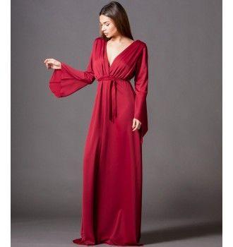 a310ed76613b Μάξι Κρουαζέ Φόρεμα με Ζώνη και Μανίκια Καμπάνα - Κόκκινο