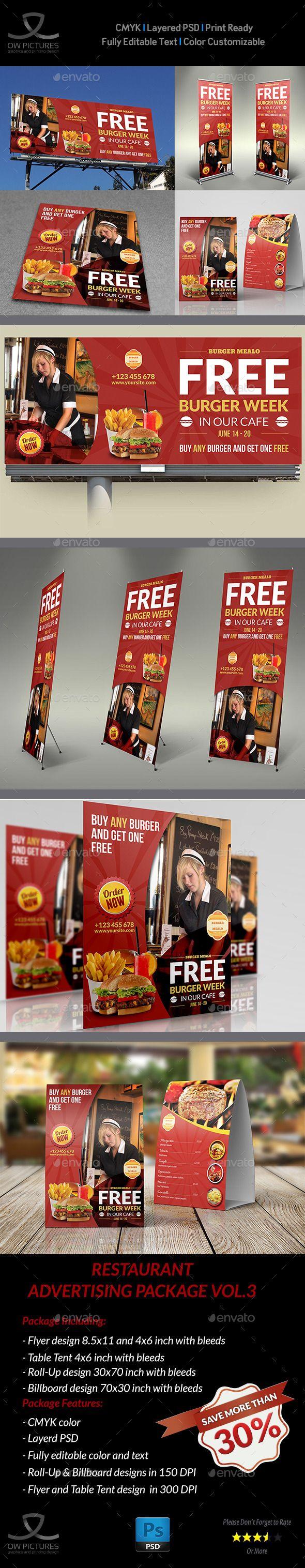 Restaurant Advertising Bundle Vol.3 - Signage Print Templates