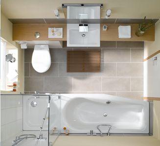 Grotere douchehoek met dichte muur, bad weg. Wastafel en wc gedeelte met lange plank = goed idee