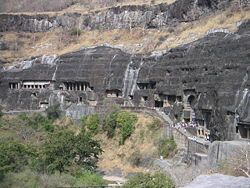 The Ajanta Caves in the Aurangabad district of Maharashtra, India are 30 rock-cut cave monuments which date from the 2nd century BCE to the 600 CE. The caves include paintings and sculptures considered to be masterpieces of Buddhist religious art (which depict the Jataka tales) as well as frescos which are reminiscent of the Sigiriya paintings in Sri Lanka.