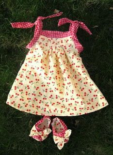 """pleated dress and peek-a-boo booties for baby (would work for 18"""" doll also) 